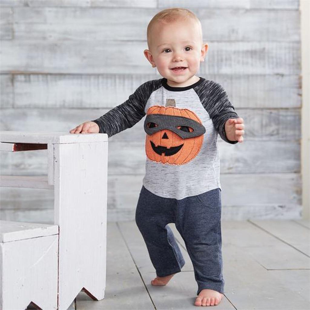 Halloween outfits Toddler Kids Baby Boy Pumpkin T Shirt Tops+ Pants Outfits Costume Set kid clothes fall roupas infantil menino
