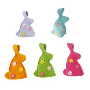 5 sztuk/partia Cartoon wzór królika pisanka obejmuje uchwyt ozdoba dekoracyjna prezent podstawka na jajka Wrap dekoracja wielkanocna