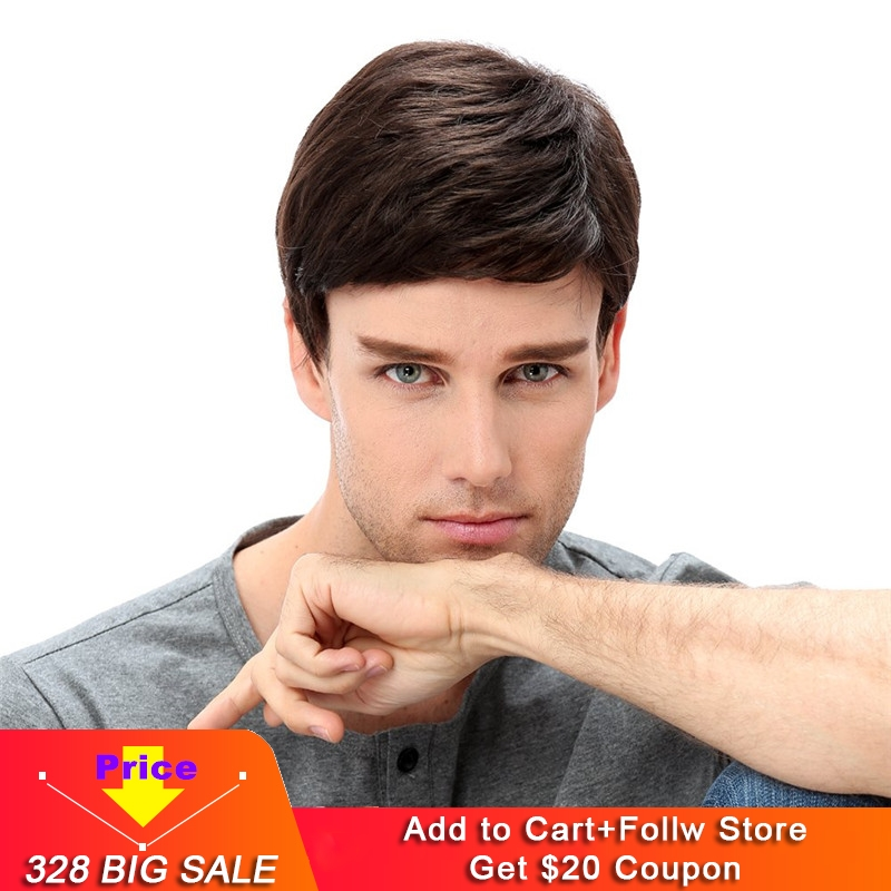 Mens Brown Wig Male Guy Short Layered Cosplay Costume Party 100% Virgin Human Hair Straight Silk Base Full Lace Replacement Wig