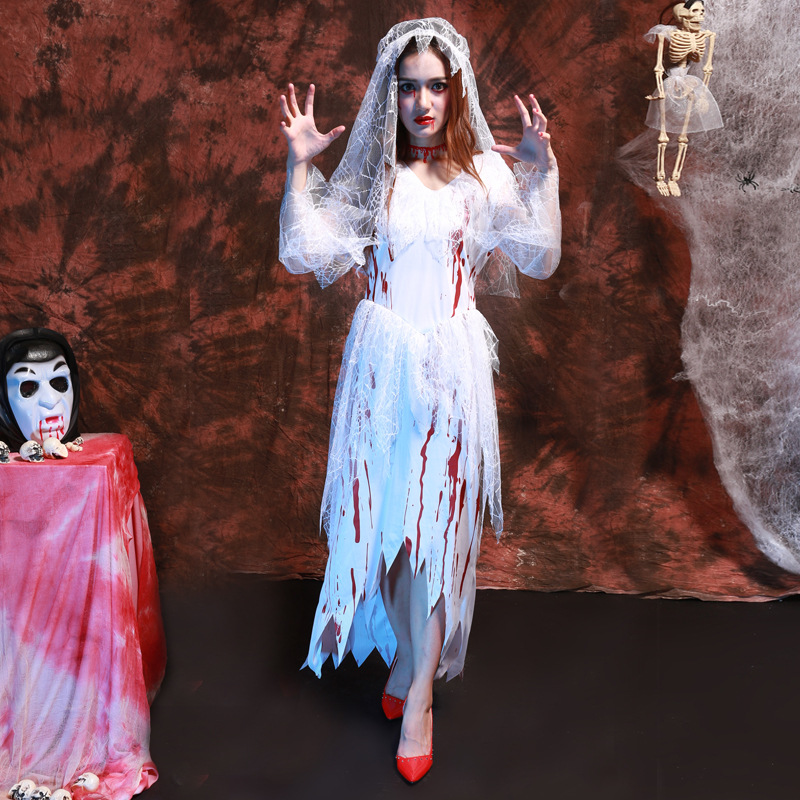 Blonde Cheerleader Wig Blood Zombie Ladies Halloween High School Fancy Dress