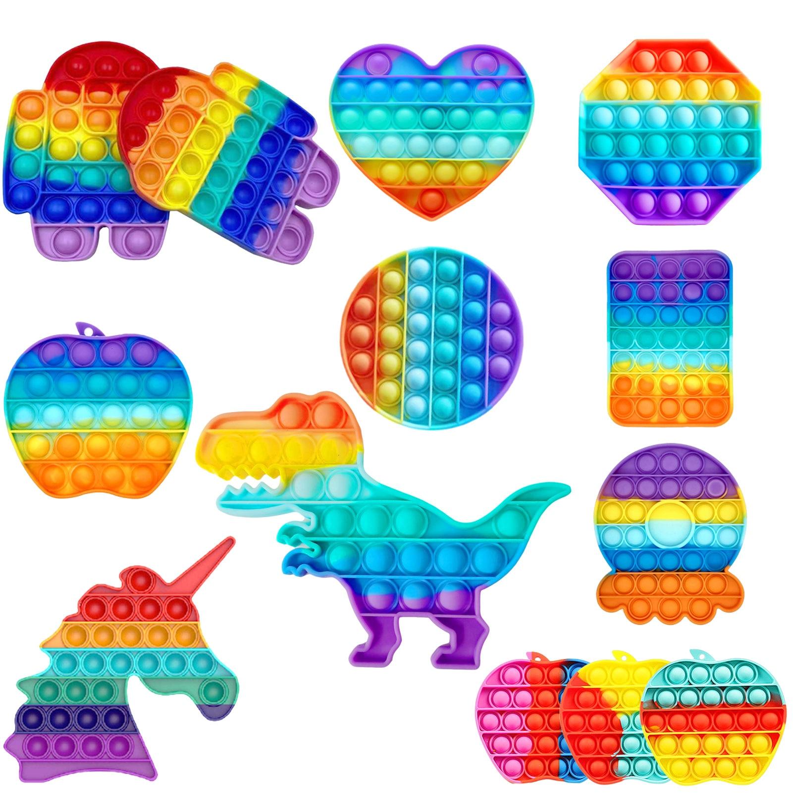 Arco-íris empurrar pop bolha fidget brinquedo sensorial autismo necessidades especiais pops fidget espremer engraçado anti-stress aliviar o estresse brinquedos