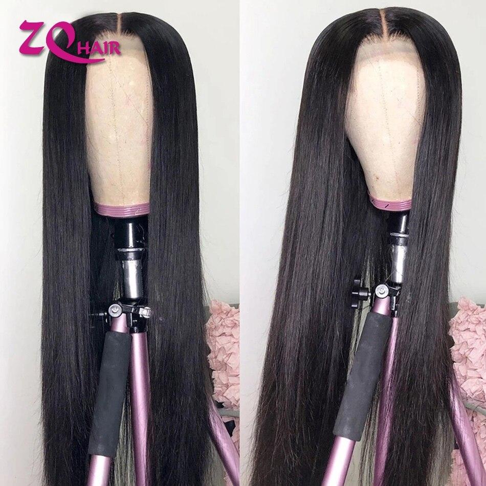 Cabelo humano peruano em linha reta fechamento do laço perucas de cabelo humano pré arrancadas 1x4 t parte peruca do laço remy cabelo humano para preto