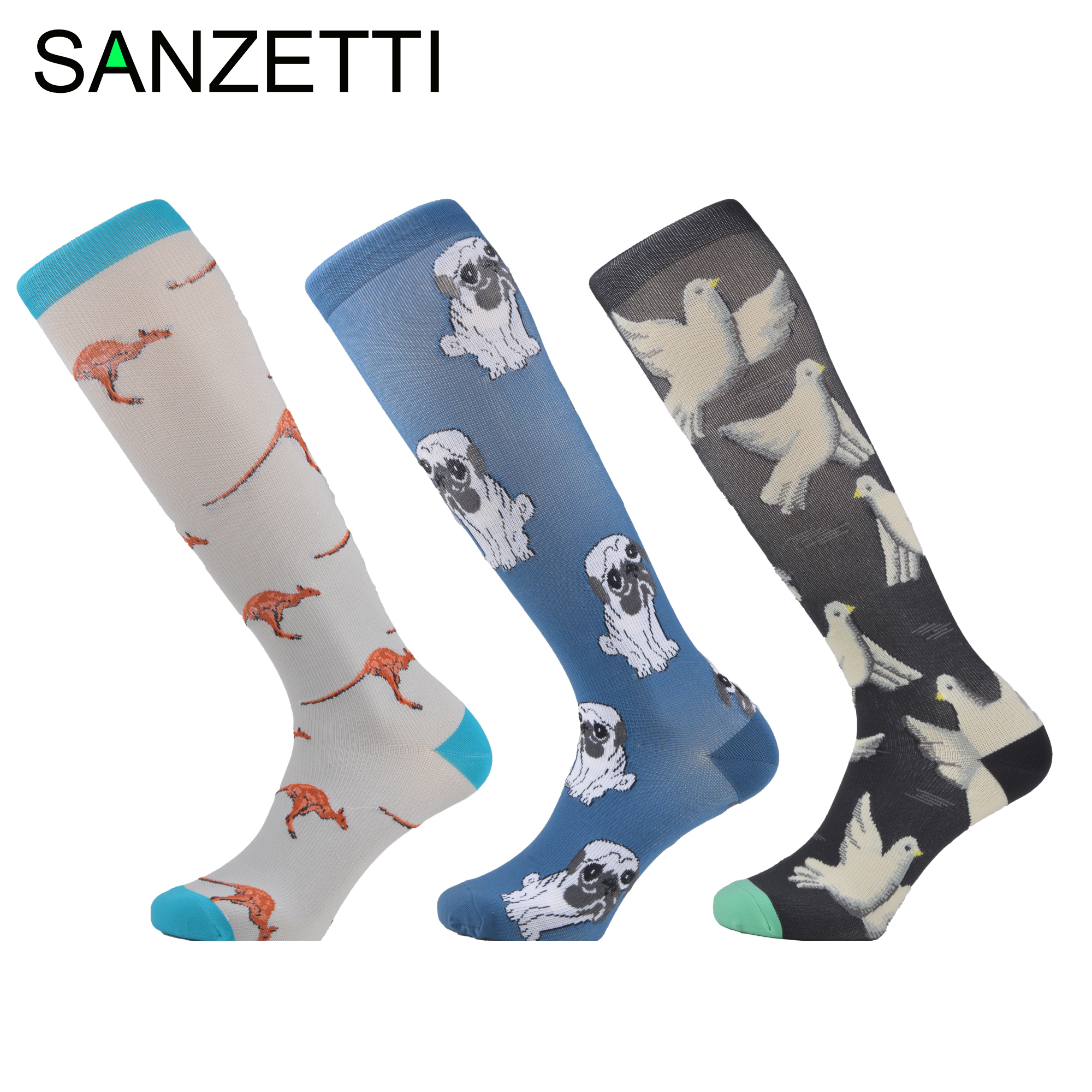 SANZETTI 3 Pairs/Lot Women Animal Leg Support Stretch Combed Cotton Compression Socks Below Knee Anti-Fatigue Long Happy Socks