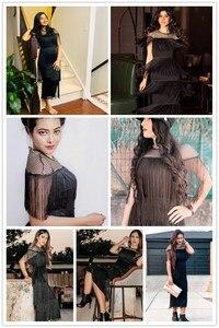 Image 5 - COLROVIE czarne kabaretki Mesh jarzmo warstwowe frędzle Bodycon Sexy sukienka kobiety 2019 lato Slim Fit ołówek biurowa, damska długie sukienki