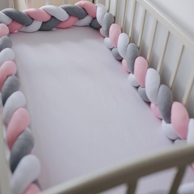 1M/2M/3M/4M Baby Bumper Crib Cot Protector Infant Bebe Bedding Set for Baby Boy Girl Braid Knot Pillow Cushion Room Decor