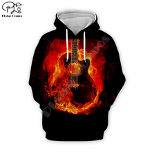 Men fire Electric Guitar 3D Print DJ Hoodies casual Hip Pop Sweatshirt unisex pullover Harajuku zipper coat women tshirt vest