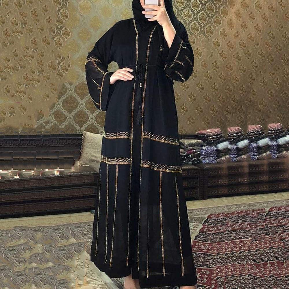 MD Black Abaya Dubai Turkey Muslim Hijab Dress 2020 Caftan Marocain Arabe Islamic Clothing Kimono Femme Musulmane Djellaba S9017(China)