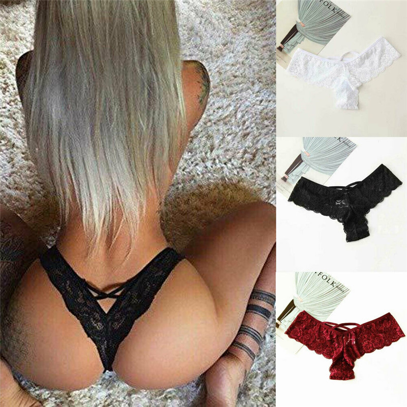 S-3XL Womens Sexy Lace Mesh Seamless Underwear Panties Brief Knickers Thongs G-string Black White Wine Red