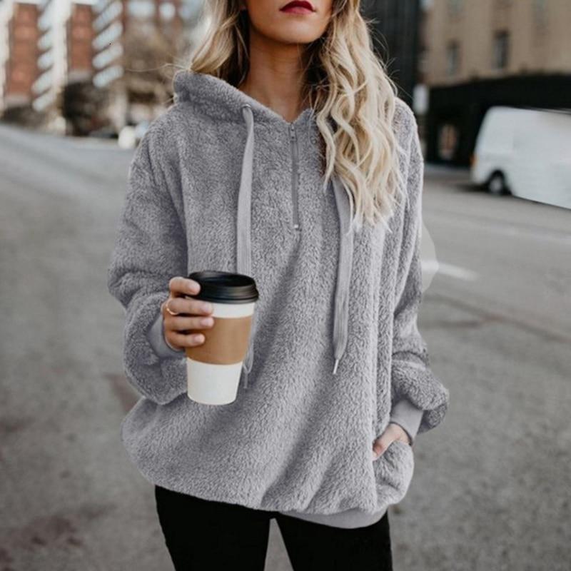 Gentillove Casual Pullovers Women Autumn Faux Fur Fluffy Teddy Coat Drawstring Sweatshirt Plus Size 5XL Sudadera Top Clothes
