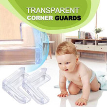 10pcs Baby Safety Corner Protector Silicone Anti-collision Furnitures Edge Cover Transparent Table Corner Guards For Kids Safety(China)