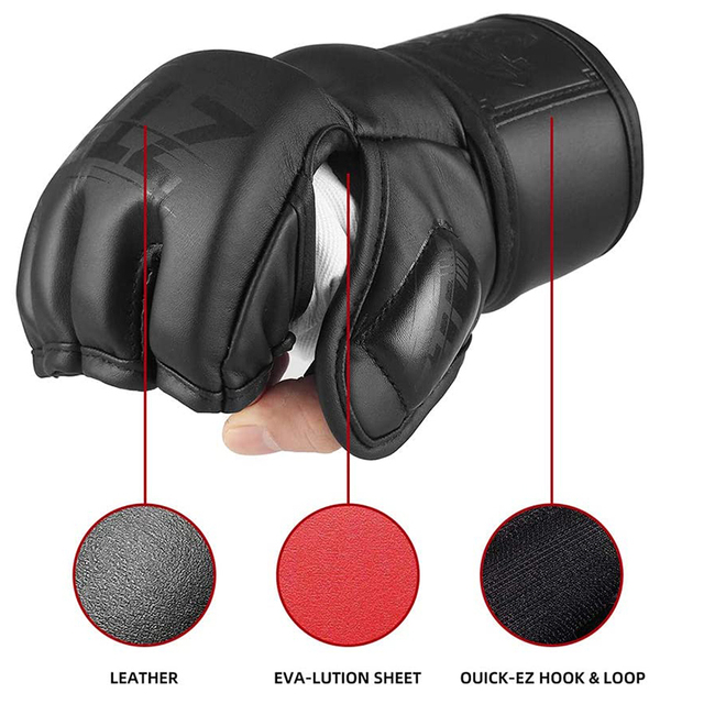 Half Finger Boxing Gloves PU Leather MMA Fighting Kick Boxing Gloves Karate Muay Thai Training Workout Gloves Men ZTTY  4