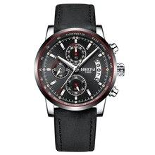 2019 luxury mens Watches Top Brand Luxury Male Metal Leather Band  Waterproof Sport Quartz Chronograph Military Wrist Watch men цена 2017