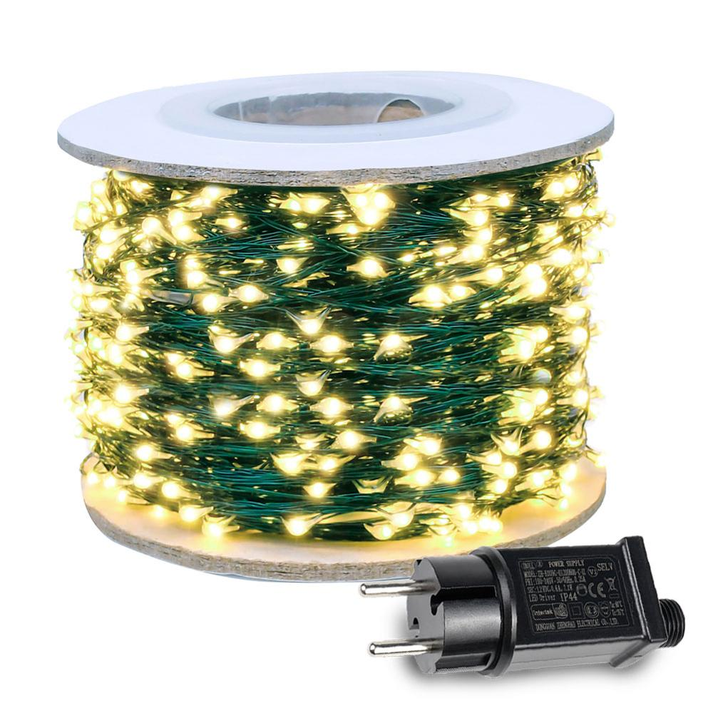 Fairy Lights LED String Light Plug In Green Wire For Wedding Mariage Outdoor Curtain Christmas Street Garland Lights Decoration