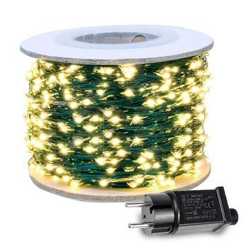 Lampki girlanda żarówkowa LED wtyk lampa w zielony przewód do ślubu Mariage zewnętrzna kurtyna świąteczna girlanda dekoracyjna na dachu tanie i dobre opinie HarrisonTek FAIRY CN (pochodzenie) Christmas Garland Lights 110-240 v Waterproof Koraliki 100V-240V 10M 20M 5V 30M 12V 50M 15V 100M 30V