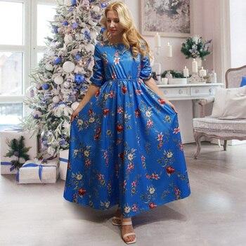 Nadafair Boho Floral Maxi Dress Woman Plus Size High Waist O Neck Printed Elegant Summer Beach Long Dresses Female Vestidos 5