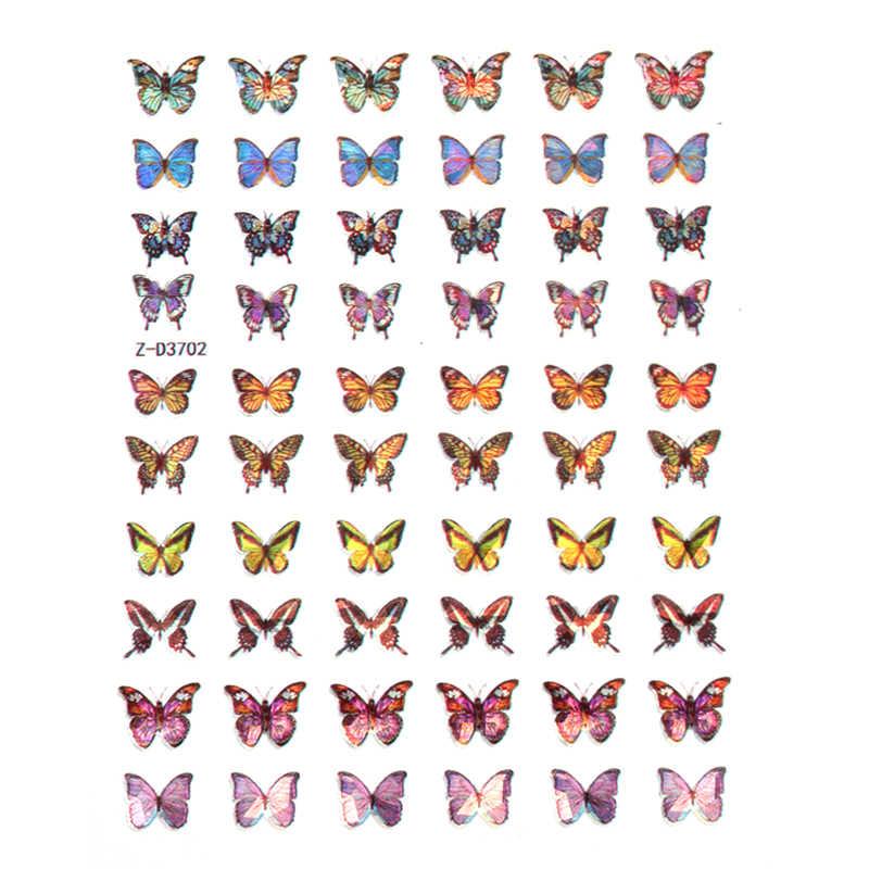 Holografische Vlinder Ontwerpen Sticker Nail Decal Diy Slider Voor Manicure Nail Art Watermerk Manicure Decor