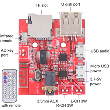 Bluetooth Audio Receiver Board USB Sound Card 3Wx2 Amplifier Support U Disk