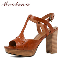 Meotina Shoes Women High Heel Sandals T-Strap Real Leather Shoes Cow Leather Peep Toe High Heels Sandals Buckle Spike Heel Shoes prova perfetto new rome wedges sandals women rivet t strap high heels sandals real leather ankle buckle peep toe ladies sandals