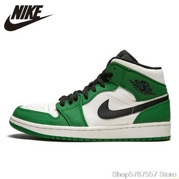 Nike Air Jordan 1 Orta Aj1 Yeni Varış Erkekler Basketbol Ayakkabıları Beyaz Yeşil Rahat Ayakkabılar Açık Spor Sneakers # BQ6931-301