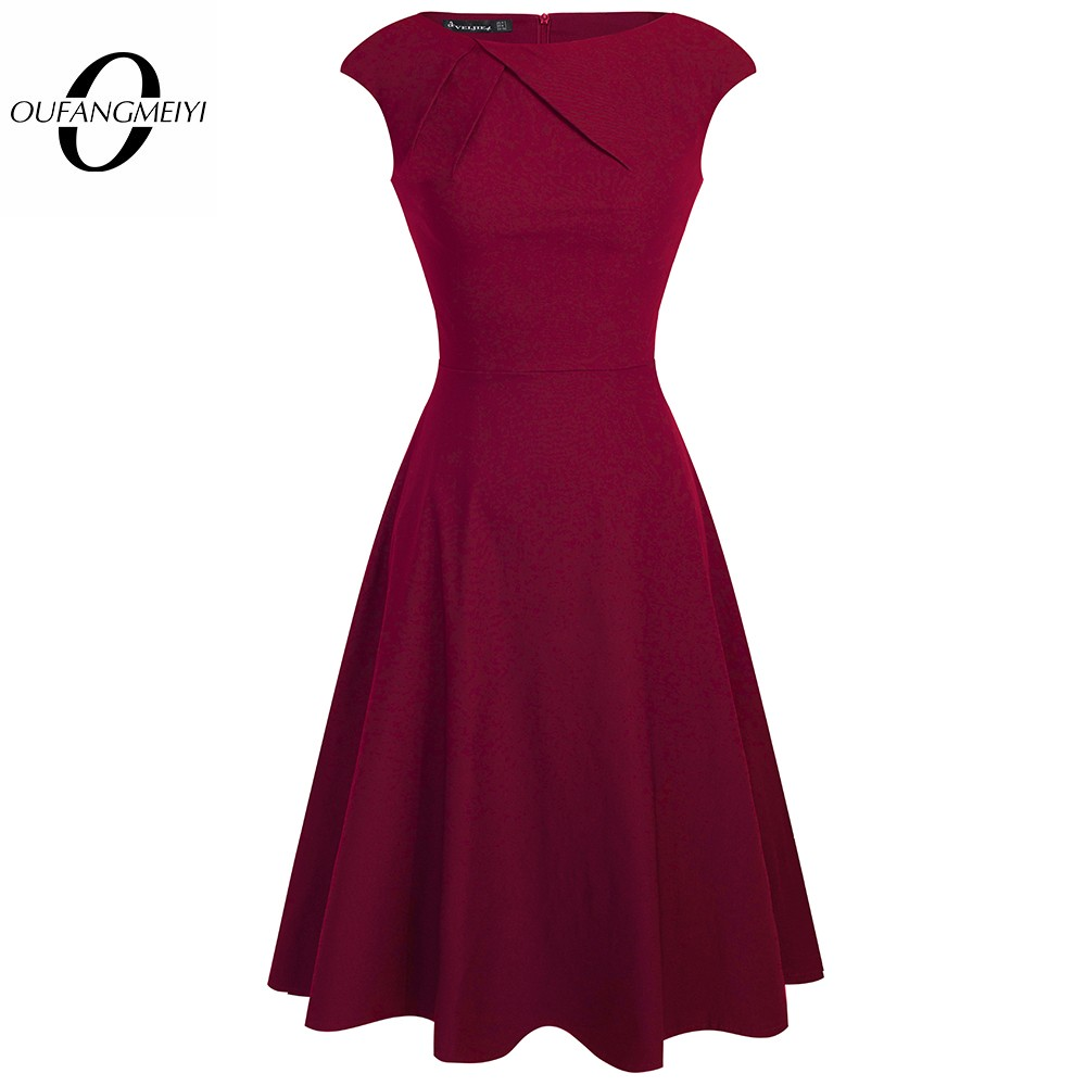 Women Elegant Summer Ruched Cap Sleeve Casual Wear To Work Office Party Fitted Skater A Line Swing Dress EA067 wear to work swing dresswoman elegant - AliExpress