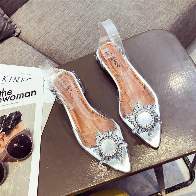 Đấu Sĩ Giày Sandal Nữ Giày Trong Suốt Giày Cưới Cô Dâu Pha Lê Giày Peep Toe Xăng Đan Mùa Hè Trong Suốt Gót Cao Cấp Xăng Đan