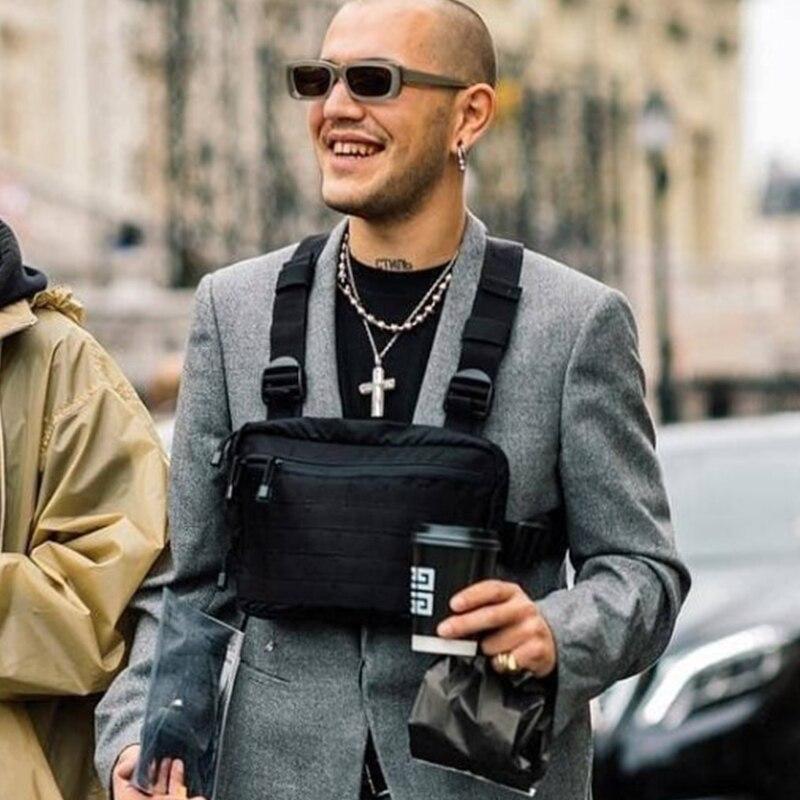 Men Tactical Shoulder Bags Chest Rig Bag Hip Hop Streetwear Adjustable Pockets Waistcoat Kanye West Functional Waist Packs 2019