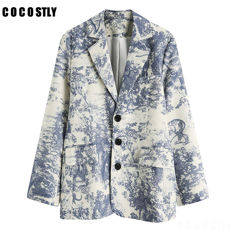 Print Single Breasted Elegant Ladies Blazer Women Jackets 2019 Blazers And Jackets Vintage Workwear Office Ladies Coat