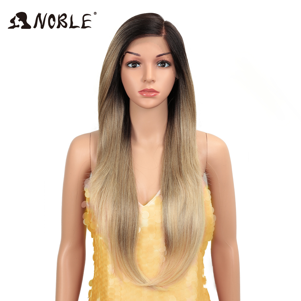 Noble Hair Synthetic Lace Front Wig Long Straight 28 Inch 613 Orange Ombre Blonde Wig Heat Resistant Fiber Wigs For Black Women