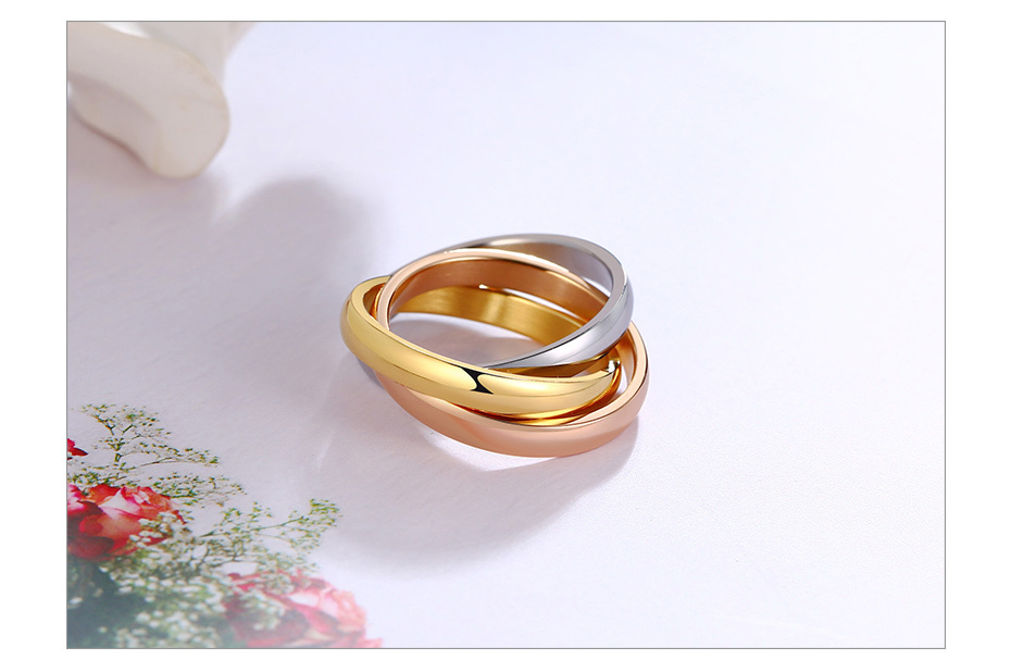Three Layers Three Color Titanium Ring Size5-9 4