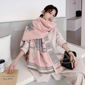 Image 3 - Brand Designer Horse Printed Scarf Women 2020 New Animal Print Winter Cashmere Thick Warm Shawls and Wraps Pashmina Blanket Cape
