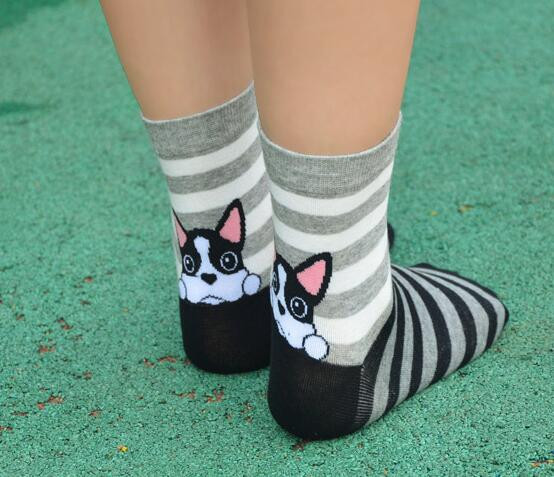 1pair/lot Japanese And Korean Style Lady Cotton Socks Cute Animal Dog Bear Streak Socks Autumn Winter Cartoon Socks