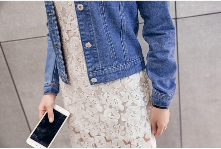Hdba98b64ee0c4724afe8220ef4ce8592Z 2019 Fashion Jeans Jacket Women Spring 2XL XL Spring Autumn Hand Brush Long Sleeve Stretch Short Denim Jacket White Pink Coats
