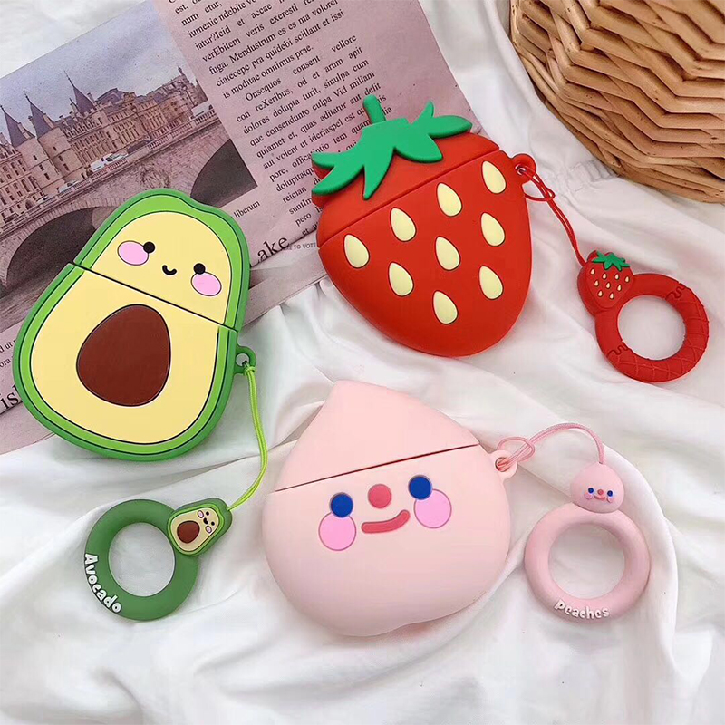 Avocado Strawberry Peach Fruit Earphone Case For Apple Airpods 2nd Silicone Cases For Airpods 1 Protective Cover With Ring Strap