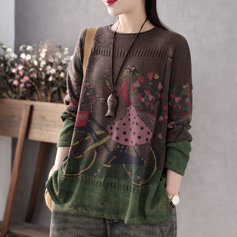 Image 4 - Johnature 2020 Spring Autumn New Casual Fashion Floral Print O neck Pullover Sweater Loose Comfortable Long Sleeve Women KnittedPullovers   -