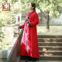 LZJN Original Quilted Maxi Coat Autumn Winter Long Sleeve Vintage Robe Split Chinese Style Patchwork Red Padded Coat