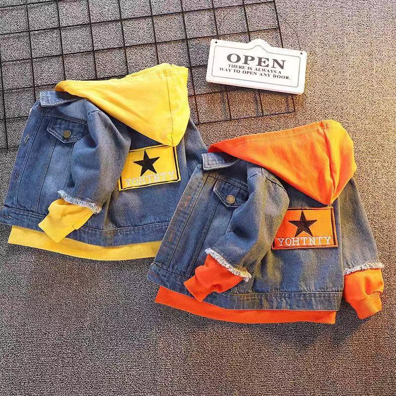 0-3 Years Toddler Jacket Kids Fall Boys Patchwork Hoodies Coat Denim Long Sleeve Outerwear Children Windbreaker Boy