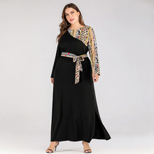 Siskakia Long Sleeve Dresses Plus Size Leopard printed Patch