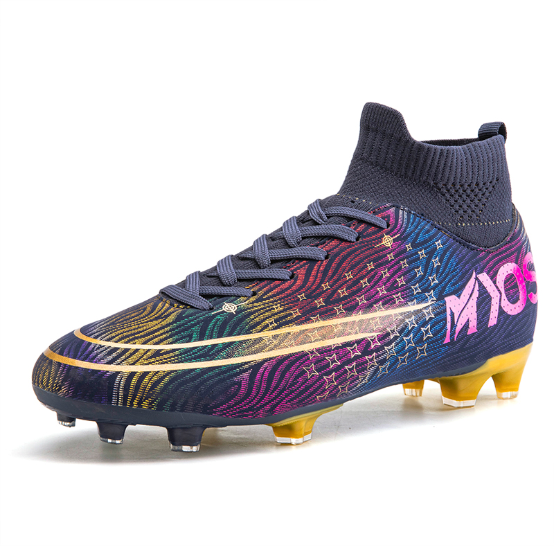 2020 new Turf white Men Soccer Shoes Kids Cleats Training Football Boots Dropshipping High Ankle Sport Sneakers Size 35 45|Soccer Shoes| |  - title=