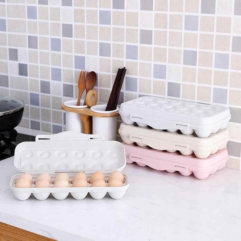ตู้เย็นกล่องเก็บ Crisper ถาดไข่ผู้ถือตู้เย็นอาหาร 12 Eggs Airtight คอนเทนเนอร์พลาสติกกล่องสต็อก