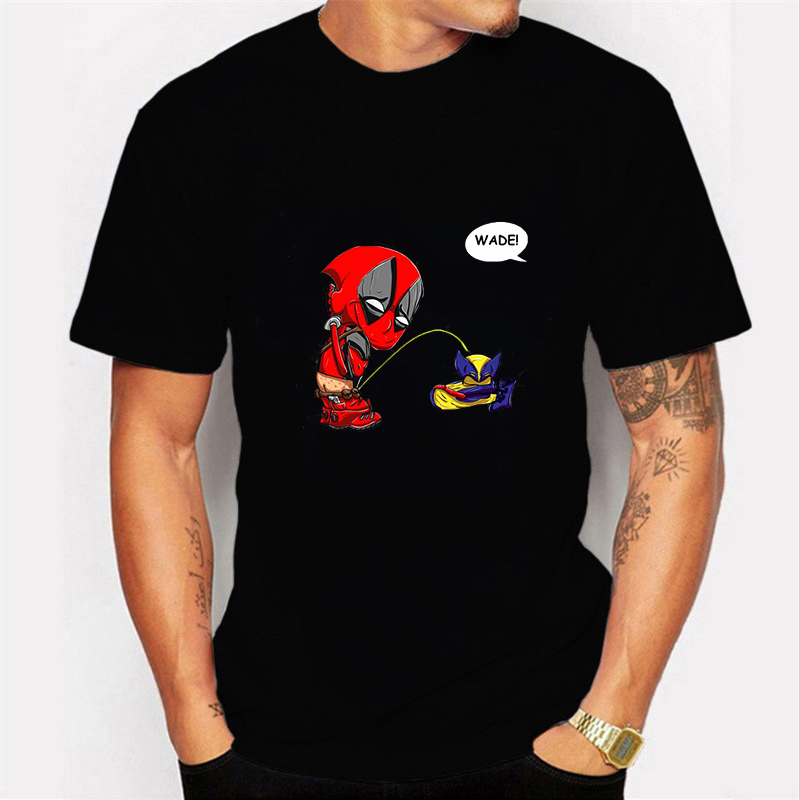 Funny Deadpool Design T-shirt Short Sleeve O-Neck Men's Tshirt Summer Deadpool Streetwear Harajuku Clothing T Shirt Homme Tops