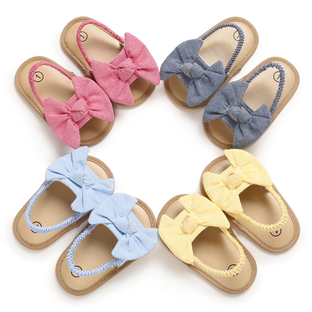 2020 Baby Girls Bow Knot Sandals Cute Summer Soft Sole Flat Princess Shoes Infant Non-Slip First Walkers 1