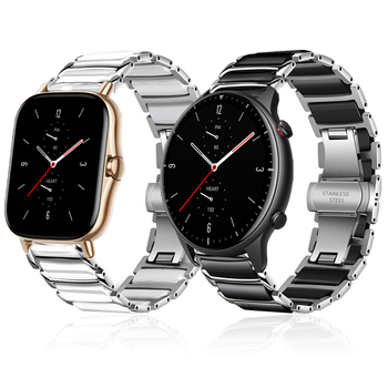Stainless steel Ceramic Strap For Huami Amazfit GTR 2 GTR2 Wrist Band for Xiaomi Amazfit GTS 2 GTS2 Replace Watchband Bracelet