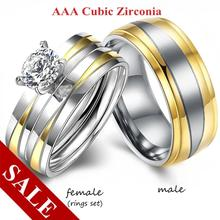 Couple Rings - Men's Gold Stainless Steel Rings Women's Fashion Silver Crystal Wedding Ring for Lovers Promise Jewelry Gift fashion stainless steel rose gold oil drop rings wedding couple ring for lovers bridal engagement jewelry valentine gift