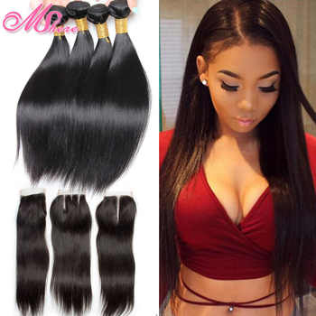 Peruvian Straight Hair With Lace Closure Free Part 4 PCS Human Hair Bundles With Closure Mshere Hair Non Remy Hair Extensions 1B - DISCOUNT ITEM  54% OFF All Category