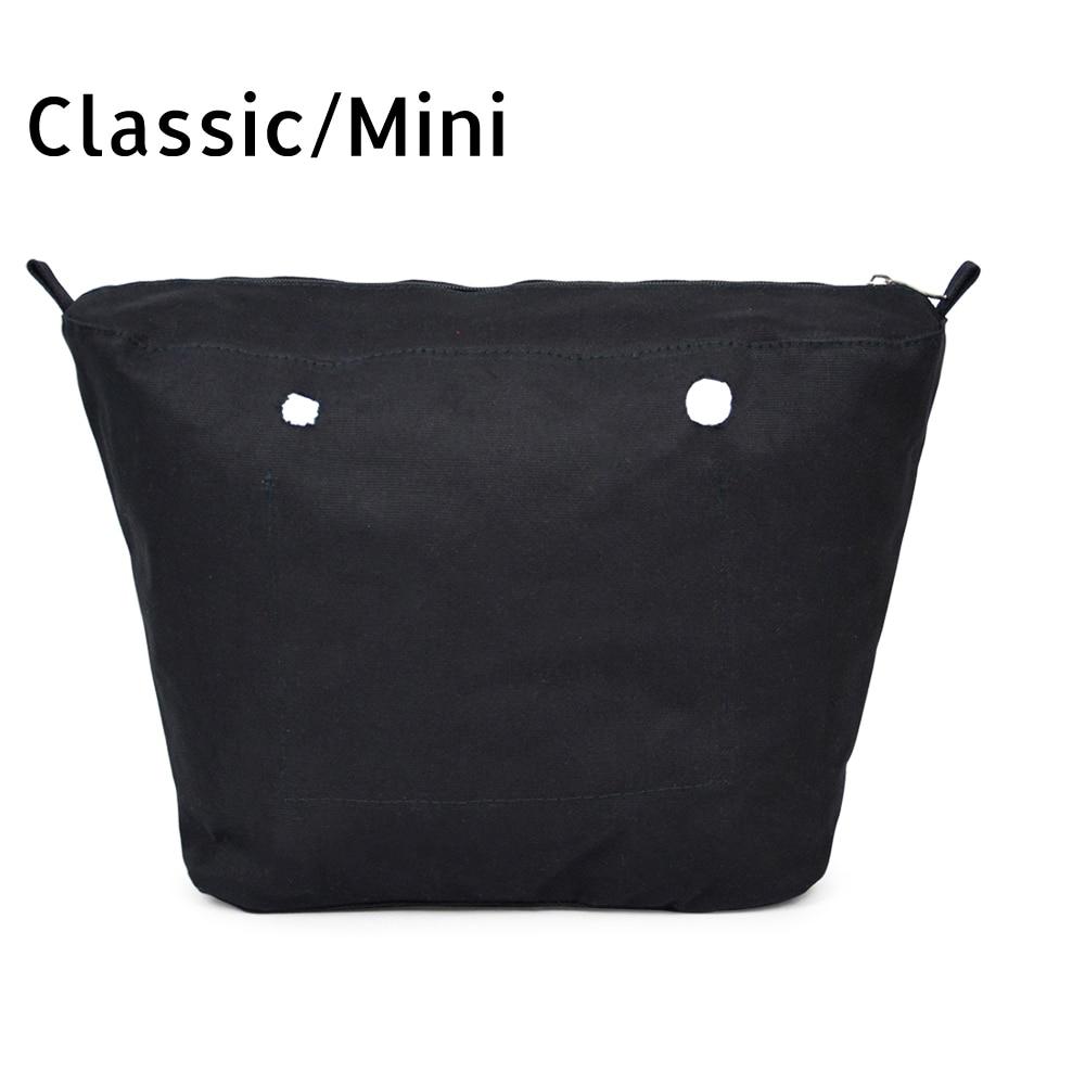 Inner Lining Insert Zipper Pocket for Classic Mini Obag Canvas Insert with Inner Waterproof Coating for O Bag
