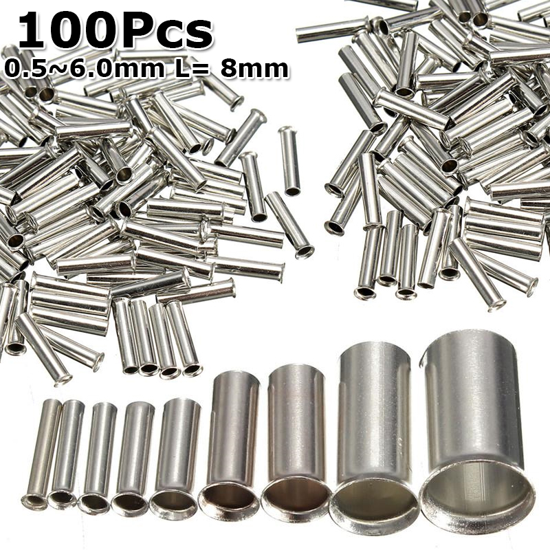 100/600Pcs Tin-coated Copper Uninsulated Crimp Terminal 0.5mm2-6.0mm2 Bootlace Ferrules Cord End Electrical Wire Cable Connector