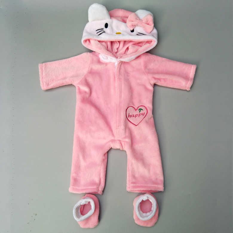 Roupas de bonecas para bebês, conjunto de 43cm com capuz fofo de gato e boneca de inverno roupas