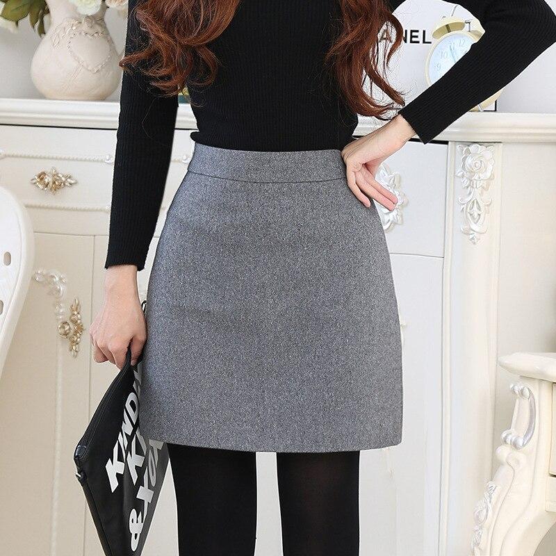 High-waist Wool A-line Winter Skirt Women 2019 Autumn Slim Woollen Skirt Women Black Mini Skirts Jupe Femme