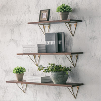 Solid wood shelf creative wrought iron multi function storage rack word Nordic simple modern wall wall shelf
