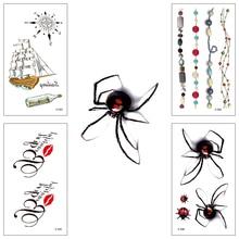 Wholesale 100 piece/lot waterproof Temporary tattoo Water Transfer spider text Sticker man woman Popular Cool Body Art X538-563